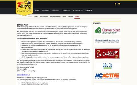 Screenshot of Privacy Page kvtempo.nl - Privacy | Korfbalvereniging Tempo | Alphen aan den Rijn - captured Sept. 20, 2018