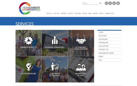 Screenshot of Services Page scrantonchamber.com - Services | The Greater Scranton Chamber of Commerce - captured Dec. 21, 2018