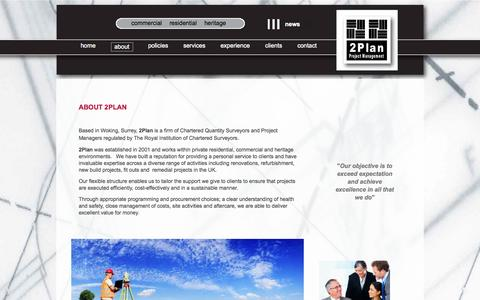 Screenshot of About Page 2planpm.co.uk - Chartered Quantity Surveyors and Project Managers for both commercial and residential projects - captured Oct. 7, 2014