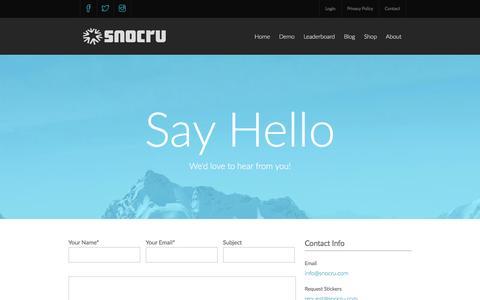 Screenshot of Contact Page snocru.com - SNOCRU | Contact Us - captured Dec. 19, 2015
