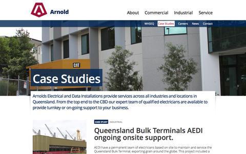 Screenshot of Case Studies Page aedi.com.au - Case Studies   Arnold Electrical and Data Installations (AEDI) - Queensland, Australia - captured Oct. 4, 2014