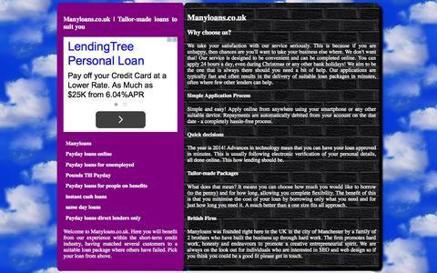 Screenshot of Home Page manyloans.co.uk - Manyloans.co.uk | The lending supermarket - captured Sept. 19, 2015