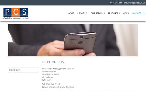 Screenshot of Contact Page pcscredit.co.uk - Contact Us - PCS Credit Management LtdPCS Credit Management Ltd - captured Oct. 6, 2016