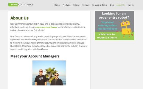 Screenshot of About Page nowcommerce.com - Now Commerce - About Us | - captured Sept. 23, 2014