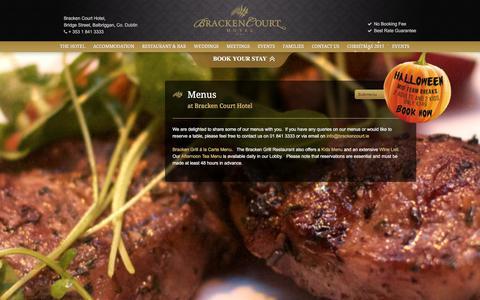 Screenshot of Menu Page brackencourt.ie - Balbriggan Hotel Restauran Menu | Eating Out in Balbriggan - captured Oct. 11, 2017