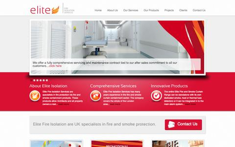 Screenshot of Home Page Site Map Page elitefcs.com - Elite Fire Isolation Services - Fire Curtains & Smoke Curtains - captured Oct. 3, 2014