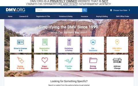 Screenshot of Home Page dmv.org - DMV.ORG: The DMV Organized - captured Sept. 21, 2018