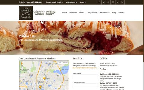 Screenshot of Contact Page Maps & Directions Page oldehearthbreadcompany.com - Contact Us | Olde Hearth Bread Company | Orlando, Florida - captured Oct. 25, 2014