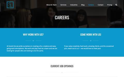 Screenshot of Jobs Page sociallite.ca - Careers in Digital Marketing | Edmonton, Alberta | Social Lite - captured May 2, 2017