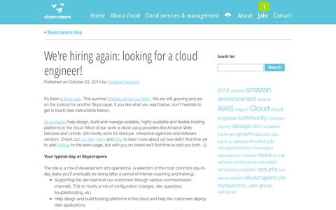 Screenshot of Jobs Page skyscrape.rs - We're hiring again: looking for a cloud engineer!  |  Skyscrapers - Cloud Consultancy, DevOps  and Management - captured Nov. 3, 2014