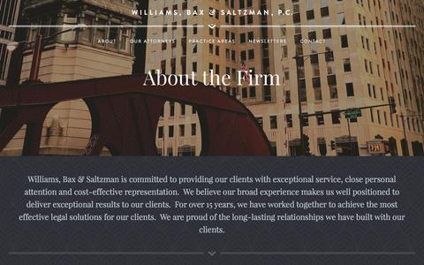 Screenshot of About Page wbs-law.com - About the Firm | Williams, Bax & Saltzman - captured Feb. 16, 2016
