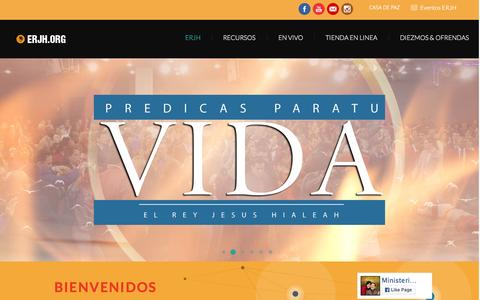 Screenshot of Home Page erjh.org - Ministerio Internacional El Rey Jesus Hialeah - captured Oct. 9, 2015