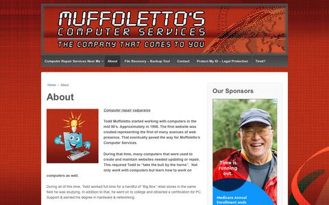 Screenshot of About Page muffolettocs.com - Computer repair valparaiso | Muffoletto's Computer services - captured Nov. 27, 2018