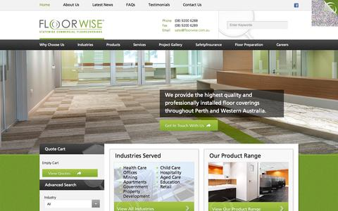 Screenshot of Home Page floorwise.com.au - Commercial Vinyl Flooring | Carpet Tiles Perth - Floorwise - captured Oct. 6, 2014