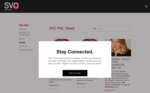 Screenshot of Press Page thesvo.com - News — The Silicon Valley Organization - captured July 9, 2018