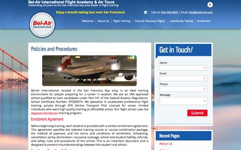 Screenshot of Privacy Page belairintl.com - Bel Air - Policies, Enrollment - captured Oct. 5, 2014