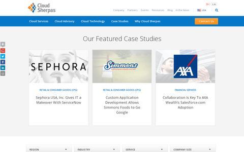 Screenshot of Case Studies Page cloudsherpas.com - Case Studies - Cloud Sherpas - captured July 20, 2014