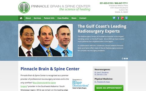 Screenshot of Home Page pinnaclebrainandspine.com - Pinnacle Brain and Spine Center - Neurosurgery for the Gulf Coast - captured Sept. 19, 2015