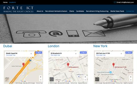 Screenshot of Contact Page Locations Page forteict.com - Forte ICT - Locations  | Forte ICT - captured Jan. 8, 2016