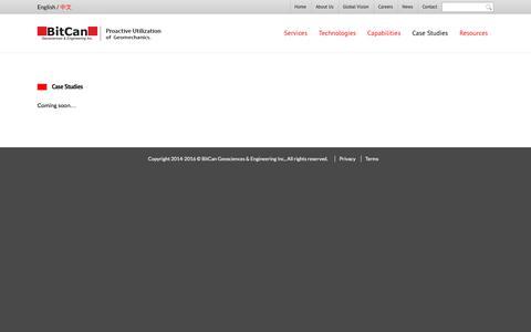Screenshot of Case Studies Page bitcange.com - Case Studies |  BitCan | Geosciences & Engineering Inc. - captured Nov. 22, 2016