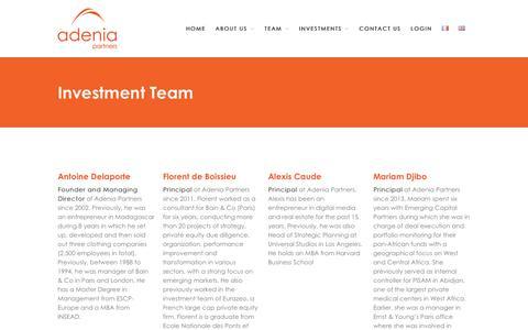 Screenshot of Team Page adenia.com - Investment Team – Adenia - captured Oct. 7, 2017