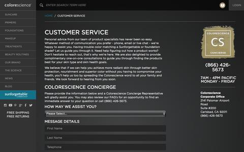 Screenshot of Contact Page Support Page colorescience.com - Colorescience Concierge - Customer Service - Colorescience Mineral Makeup - captured Oct. 1, 2015