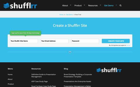 Screenshot of Trial Page shufflrr.com - Shufflrr is Presentation Management.  A slide library for PowerPoint.  –  Create a Site - captured April 16, 2018