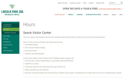 Screenshot of Hours Page lpzoo.org - Hours | Lincoln Park Zoo - captured Dec. 15, 2018