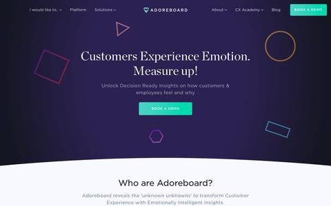 Screenshot of Home Page adoreboard.com - Adoreboard - Unlock Decision Ready Insights - captured Sept. 19, 2018