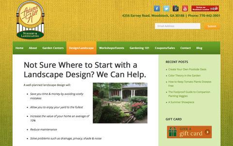 Screenshot of Services Page autumnhillnursery.com - Landscape Design Woodstock, GA - Canton, Roswell, Milton - captured June 25, 2016