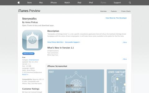Screenshot of iOS App Page apple.com - Storywalks on the App Store on iTunes - captured Oct. 22, 2014