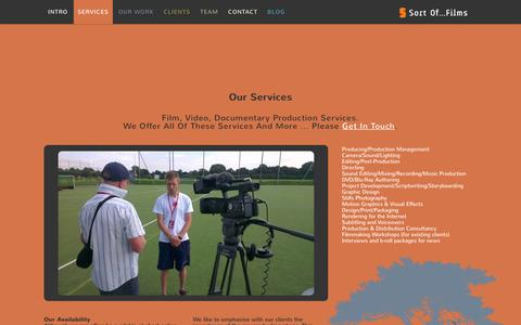 Screenshot of Services Page sortoffilms.co.uk - Film, video, documentary production services - Sort Of...Films - captured Dec. 1, 2016