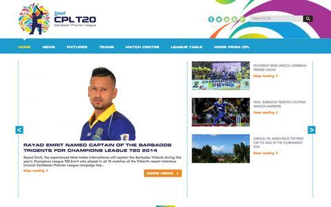 Screenshot of Home Page cplt20.com - CPL T20   cplt20 - captured Sept. 22, 2014