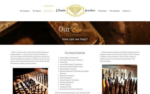 Screenshot of Services Page jdostie.com - The Services – J Dostie Jewelers Maine – Repair, Restore, Design + Create - captured Sept. 29, 2017