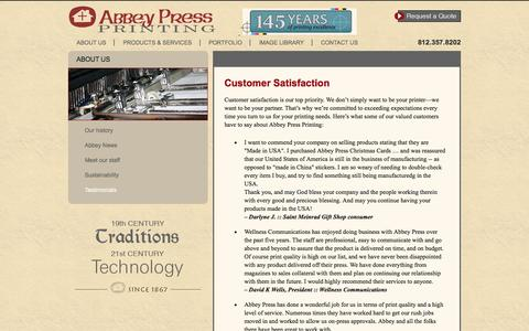 Screenshot of Testimonials Page abbeypressprinting.com - Abbey Press Printing | Customer Satisfaction - captured Feb. 5, 2016