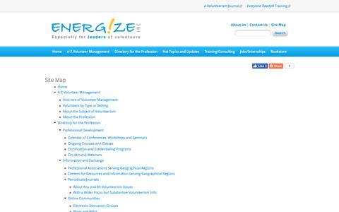 Screenshot of Site Map Page energizeinc.com - Site map | Energize: Volunteer Management Resources for Directors of Volunteers - captured July 19, 2018