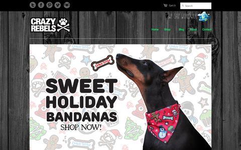 Screenshot of Home Page crazyrebels.com - Dog Portraits, Dog Collars, & Dog Apparel | Crazy Rebels - - captured Dec. 13, 2015