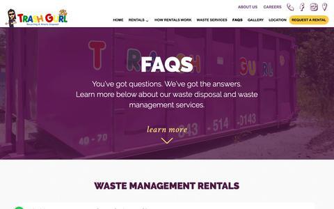 Screenshot of FAQ Page trashgurl.com - FAQs - Trash Gurl - captured Oct. 20, 2018