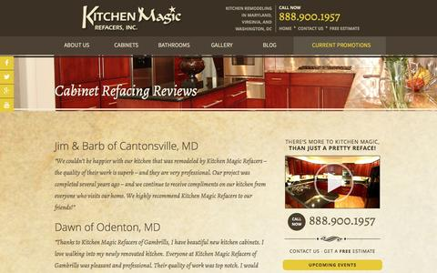 Screenshot of Testimonials Page kitchenmagic.net - Reviews of Cabinet Refacing Work Done By Kitchen Magic Refacers - captured Nov. 27, 2016