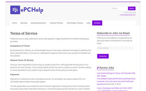 Screenshot of Terms Page epchelp.com - Terms of Service | ePCHelp - captured Nov. 5, 2018