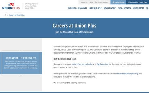 Screenshot of Jobs Page unionplus.org - Union Plus Careers -- Jobs at Union Privilege - captured May 29, 2019