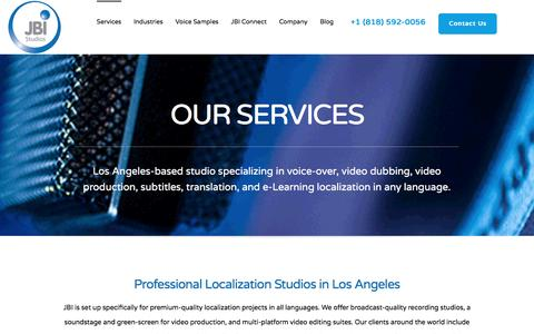 Screenshot of Services Page jbistudios.com - Services | Voice-over | Dubbing | Multimedia | Localization - captured May 10, 2017