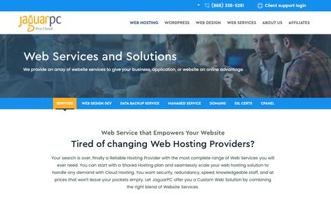 Screenshot of Services Page jaguarpc.com - Cloud Services - Backup Services - Wordpress Website Design - captured Oct. 8, 2018