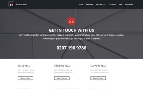 Screenshot of Contact Page technicweb.com - Contact Technicweb | Property website designers - captured Jan. 13, 2016
