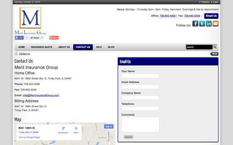 Screenshot of Hours Page meritinsurancegroup.com - Merit Insurance Group > Contact Us - captured Oct. 27, 2014