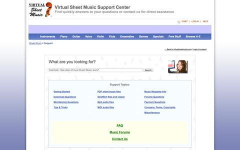 Screenshot of Support Page virtualsheetmusic.com - Virtual Sheet Music Support Center - captured Sept. 19, 2014