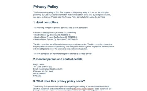 Privacy Policy / Bob the Robot