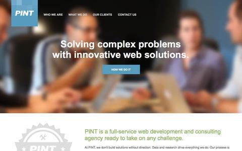 Screenshot of Home Page pint.com - PINT | Advanced web development + technical consulting - captured Jan. 14, 2015