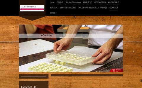 Screenshot of Contact Page ledimidas.net - CONTACT - Chocolates LeDimidas, Finest Belgian Chocolate Desserts - captured Sept. 29, 2014