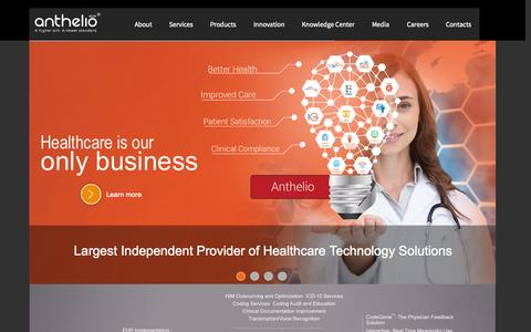 Screenshot of Home Page antheliohealth.com - Anthelio Healthcare Solutions - captured Oct. 4, 2014